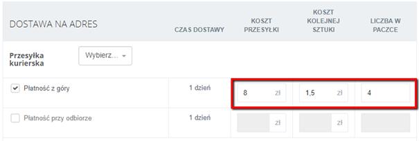a738bee012ad4f Tworząc cennik możesz zaznaczyć dowolną liczbę metod dostawy.